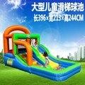 Residencial nylon casa do salto salto castelo bouncy castelo inflável combinação de slides com piscina de bolinhas