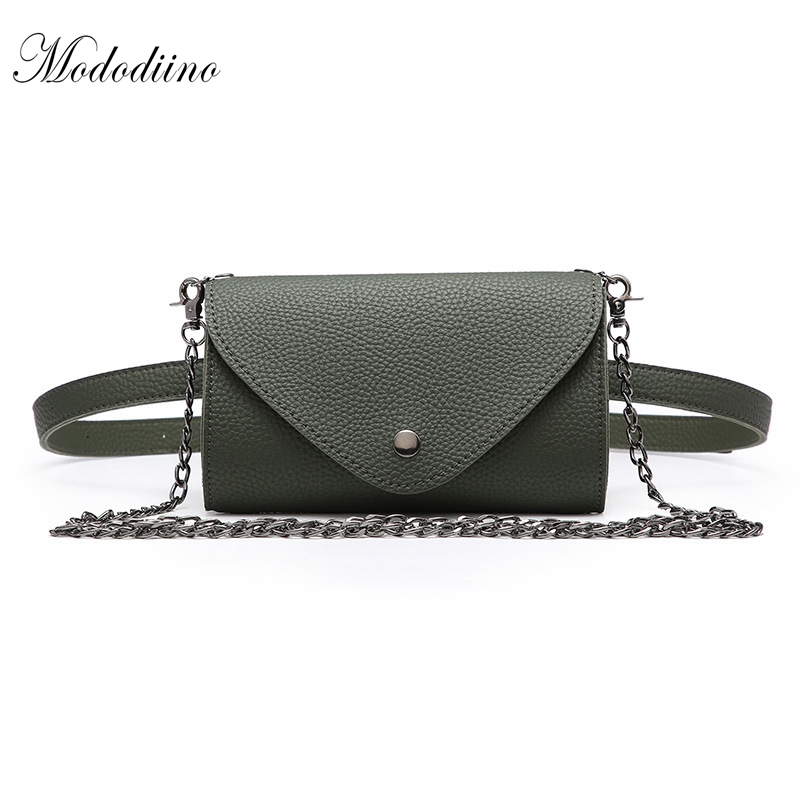 Mododiino Fashion New Women Waist Bag Chain Shoulder Bag Female Belt Bag Phone Pouch Bags Brand Designe Women Fanny Pack DNV0969