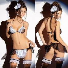 4pc Women Sexy lingerie Maid uniform temptation transparent gauze three suit with the maid sex products