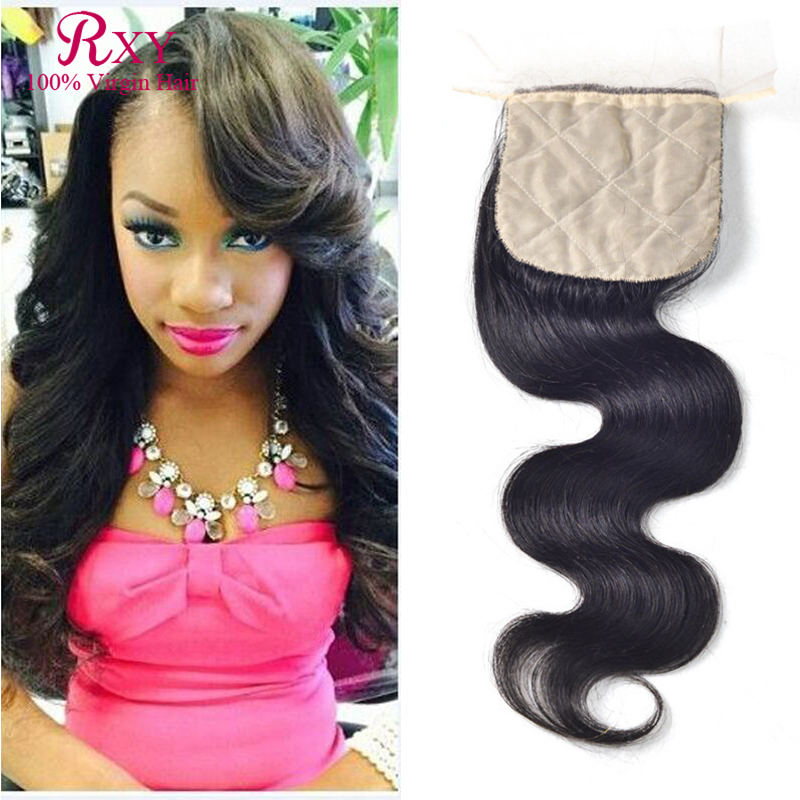 ФОТО Virgin Indian Hair Closures Body Wave Silk Base Closure With Baby Hair 8A Free Middle 3 Part  Silk Base Closures Bleached Knots