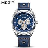 MEGIR Mens Fashion Leather Quartz Watches With Calendar Date Week 24 Hour Luminous Wristwatch For Man