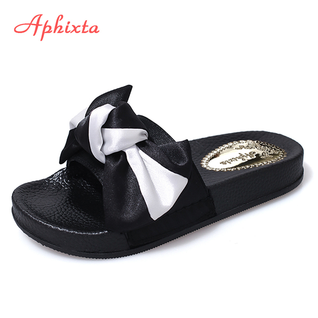 4b665ec587b48 Aphixta New Silk Butterfly Decoration Women Summer Beach Slide Silk Fabrics  Flat Heels Slipper Woman Rihanna Bohemia Beach Shoes