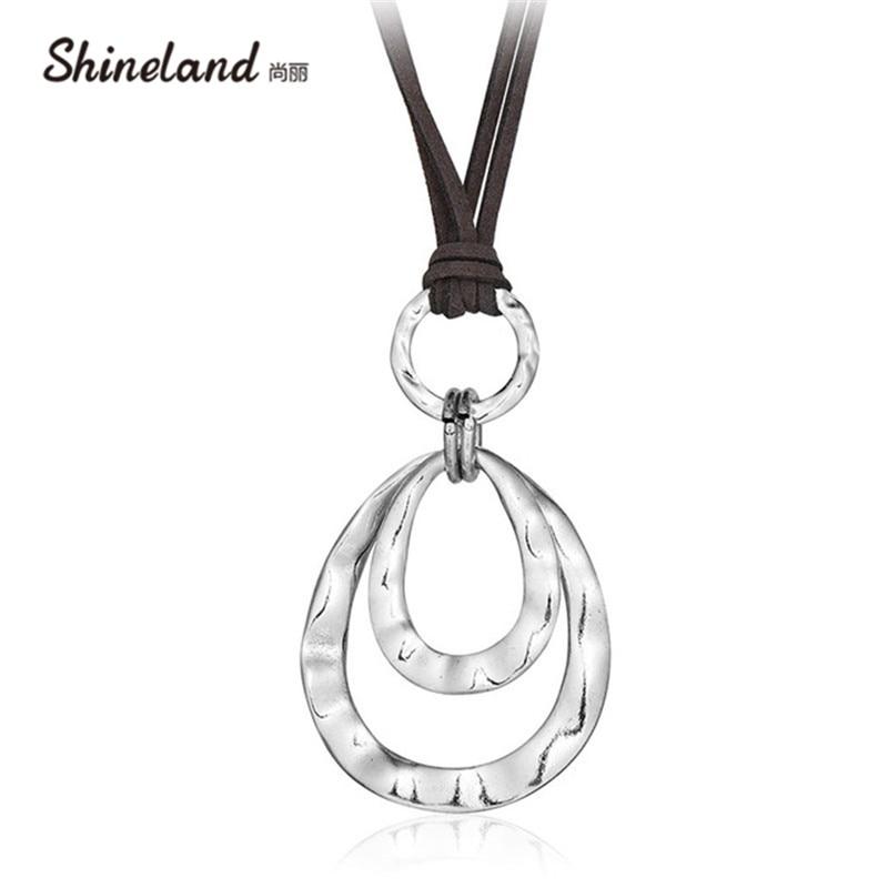 Shineland 2 layer Retro Long Necklace Women New Trendy s