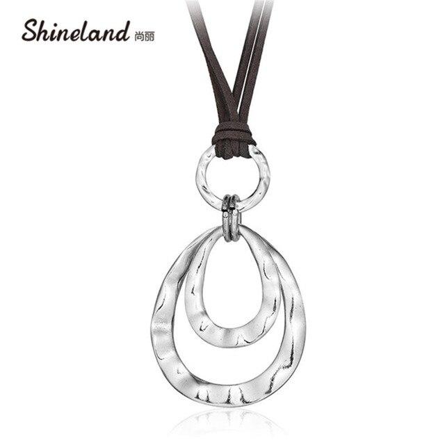 Shineland 2 strato Retrò Lunga Collana di Donne New Trendy Gioelleria raffinata e alla moda Artificiale Corda In Pelle a Doppia Circles Collana & Del Pendente