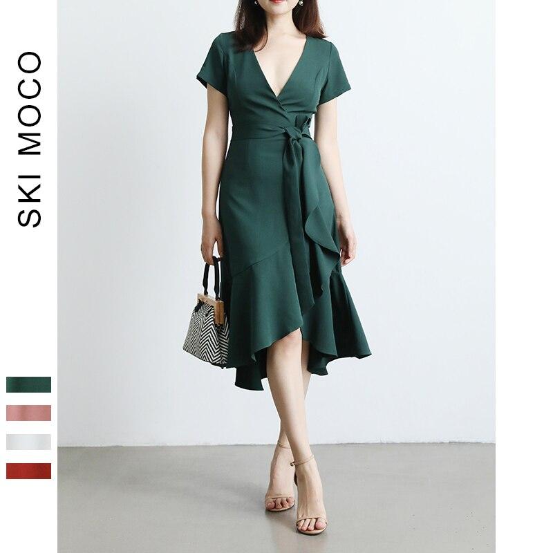 Élégant à volants causal robe 2019 D'été nouvelle ruche midi wrap vert V cou robe pour femme robe femme robes festa