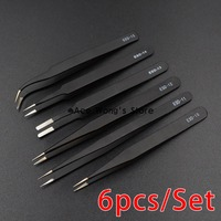 6pcs LOT BGA Precision ESD Tweezers Set Stainless Steel Anti Static Tweezers Repair Tool Soldering Station