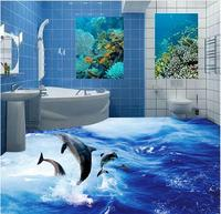 3d-bodenbelag Delphin Ozean Ozean Welt 3D Bad Wohnzimmer pvc-boden tapete 3d boden malerei tapete
