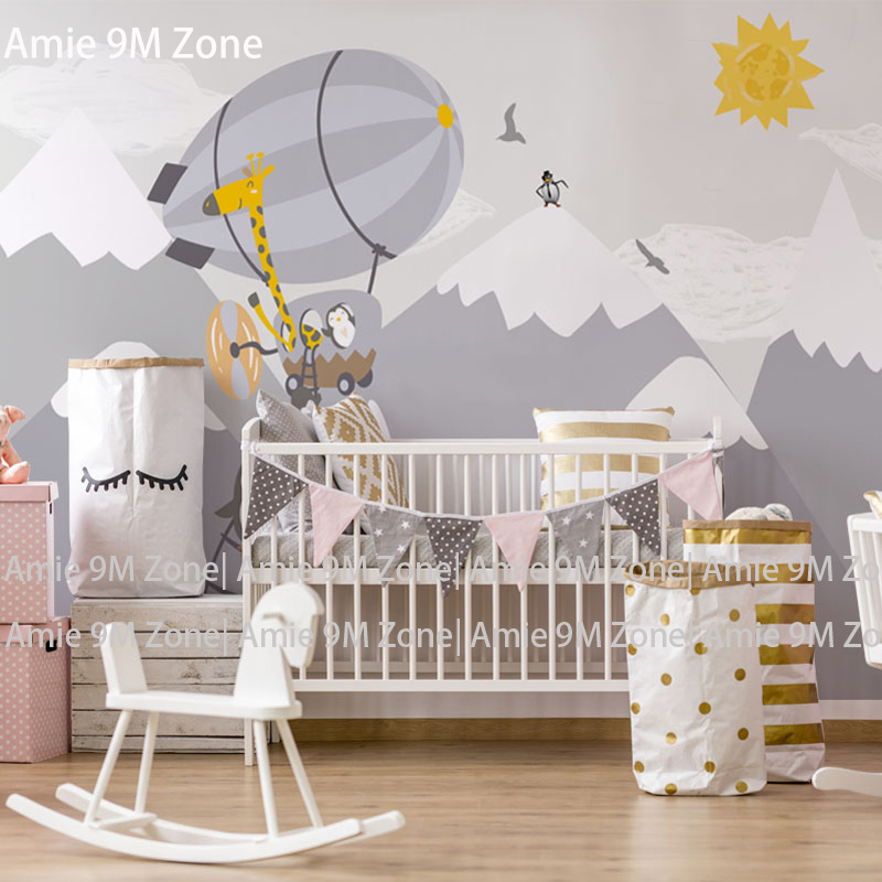 Tuya Art Mural Wallpaper Grey Moutains And Balloon Wallpaper For Kid's Room Wall Decor Wall-paper Nursery Room Wallpapers