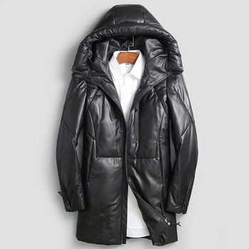 AYUSUE Geniune Leather Jacket Men Sheepskin Leather Duck Down Coaat Winter Warm Thick Outwear parka hombre invierno MF406
