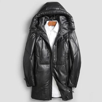 AYUSUE Geniune Leather Jacket Men Sheepskin Leather Duck Down Coaat Winter Warm Thick Outwear parka hombre invierno MF406