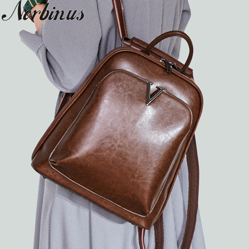 Norbinus น้ำมันขี้ผึ้งหนังแท้หนังผู้หญิงกระเป๋าเป้สะพายหลัง Cross Body ไหล่กระเป๋า Cowhide School Daypack แฟชั่นหญิงกระเป๋าเป้สะพายหลัง-ใน กระเป๋าเป้ จาก สัมภาระและกระเป๋า บน AliExpress - 11.11_สิบเอ็ด สิบเอ็ดวันคนโสด 1