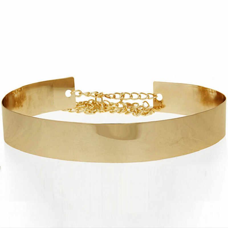 Hohe Qualität Frauen Gürtel Platte Bund Breiten Damen Gold Metall Vogue Luxus Marke Ketten Spiegel Hochzeit Elegante Slash Verband