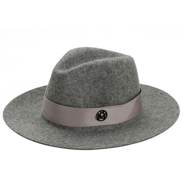 a7c5fdfe4585b Letra M de Fieltro Sombrero De Copa de Ala Ancha Marca Vintage Elegante  Estilo británico de