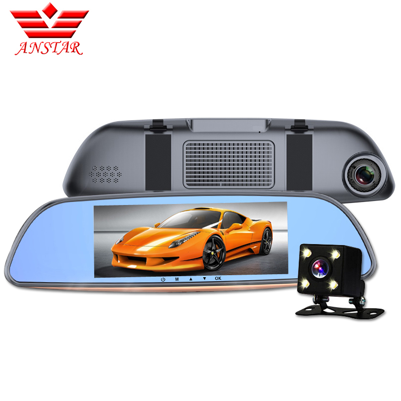 ФОТО ANSTAR New 6.86 Inch Big Screen Rearview Mirror Car DVR CAR Camera Video Recorder DVR Dual Camera Full HD 1080P Black Box