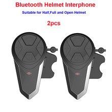 2 pçs motocicleta moto 1000m sem fio bluetooth capacete interfone comunication fone de ouvido com função fm BT-S3