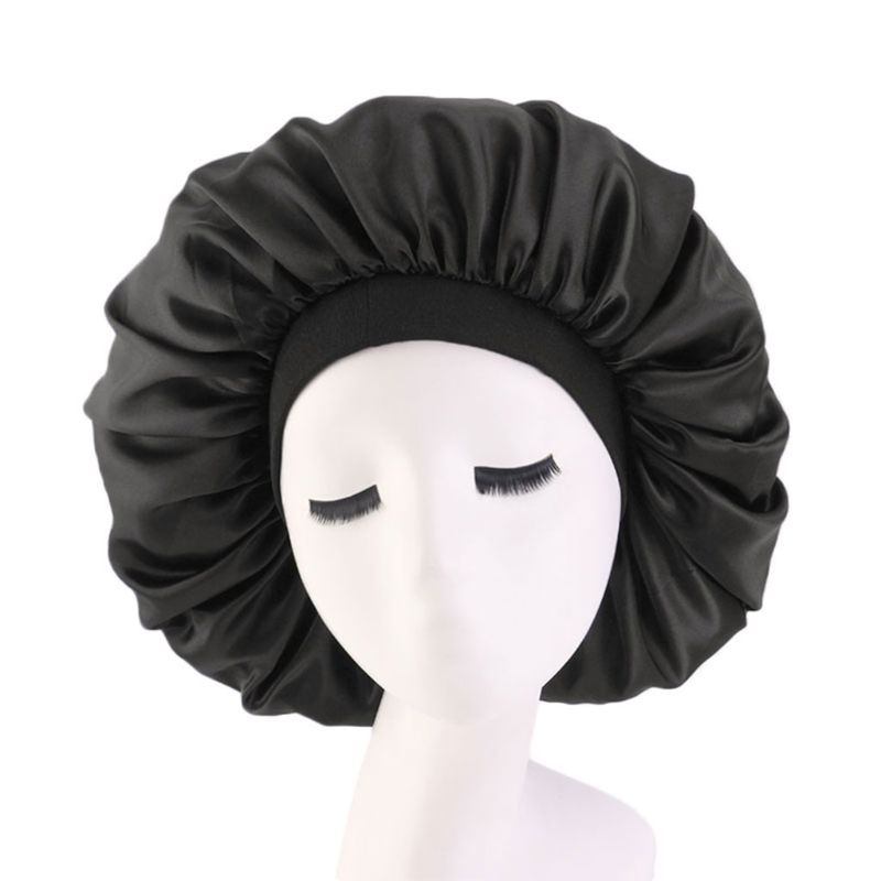 2019 Women Fashion Lady Sleep Hat Oversize Satin Nightcap Elastic Band Simulation Silk Satin Solid Color Hair Care Cap
