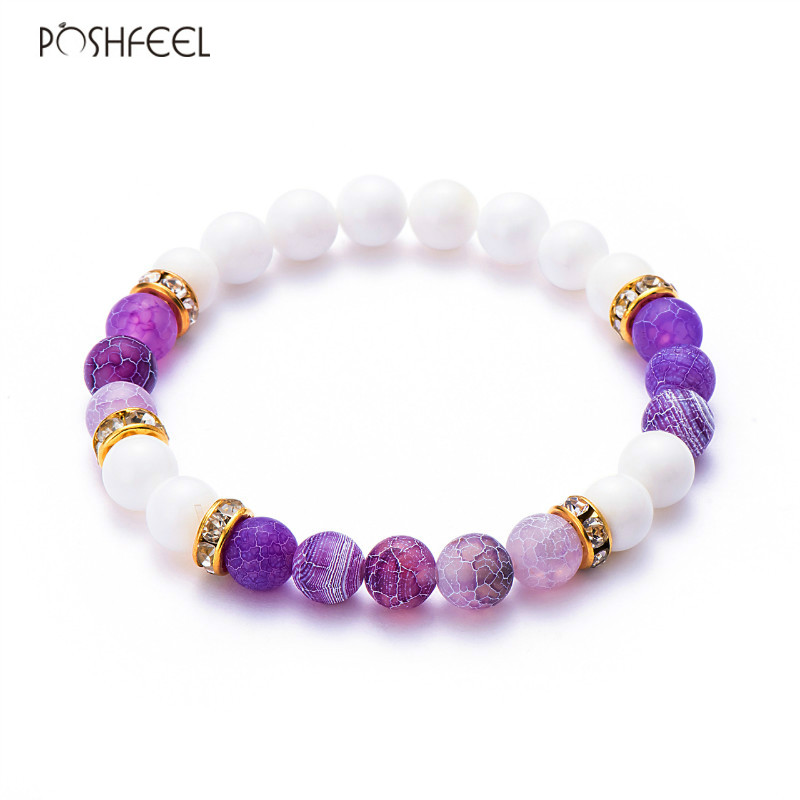 Poshfeel 8Mm Natural Stone Bracelets & Bangles Women'S Natural Bead Strand Bracelets Men Jewelry 2017 Mbr170174