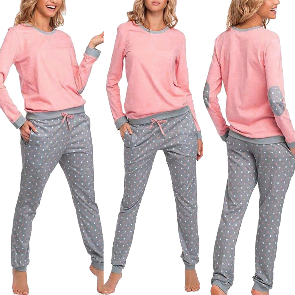 Women Pajamas Top And Pant Autumn Winter Dot Printed Nightwear Sleepwear Homewear U.S Stock