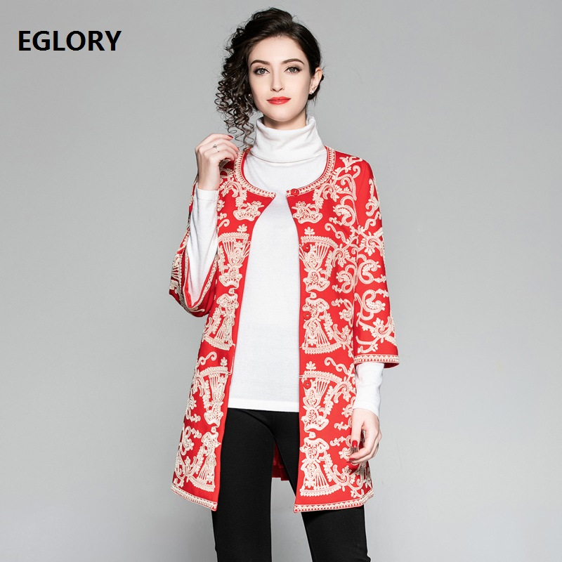 xxxxl!Top Quality Women Long Coats 2018 Autumn Winter Overcoats Woman Allover Appliques Embroidery Beading Vintage Coat   Trench