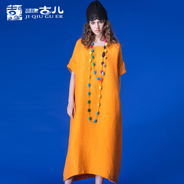 JIQIUGUER Оригинальный Дизайн Свободно Тонкий Твердые Платья Для Женщин С Коротким Рукавом Средний-икра О-Образным Вырезом Женский Dress For Spring G171Y009
