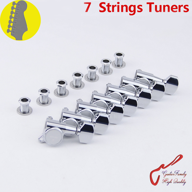 Genuine Original 7 In-line GOTOH SG381-07 7 Strings Guitar Machine Heads Tuners ( Chrome ) MADE IN JAPAN цена