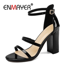 купить ENMAYER  Genuine Leather High Heels Sandals Women Buckle Strap  Shoes Woman  Sandalias Mujer  Open Toe Heels  Size 34-40 ZYL2675 по цене 2831.23 рублей