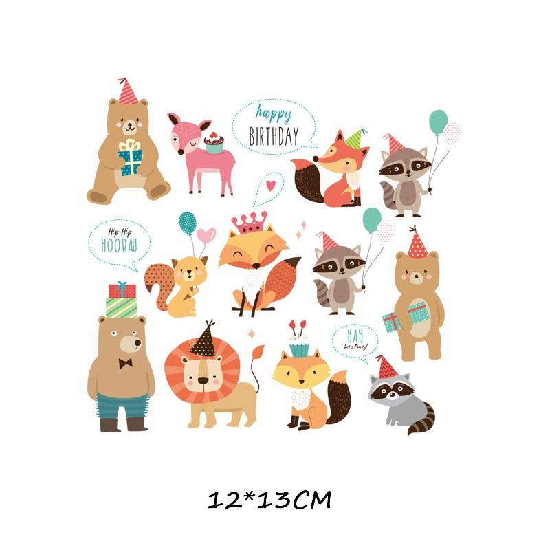 Железные милые нашивки в виде животных набор для детей Одежда DIY Футболка аппликация теплопередача виниловая нашивка единорога наклейки термопресс - Цвет: 410