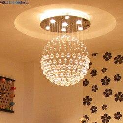 BOCHSBC K9 kryształowy żyrandol oprawa LED kształt kuli zawieszenie sufitowe Hanglamp oświetlenie do salonu ściemnianie lampy Lustre