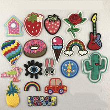 Flower Plant Patches Iron On Embroidered Patch For Clothing Sticker Badge Paste Clothes Bag Pants