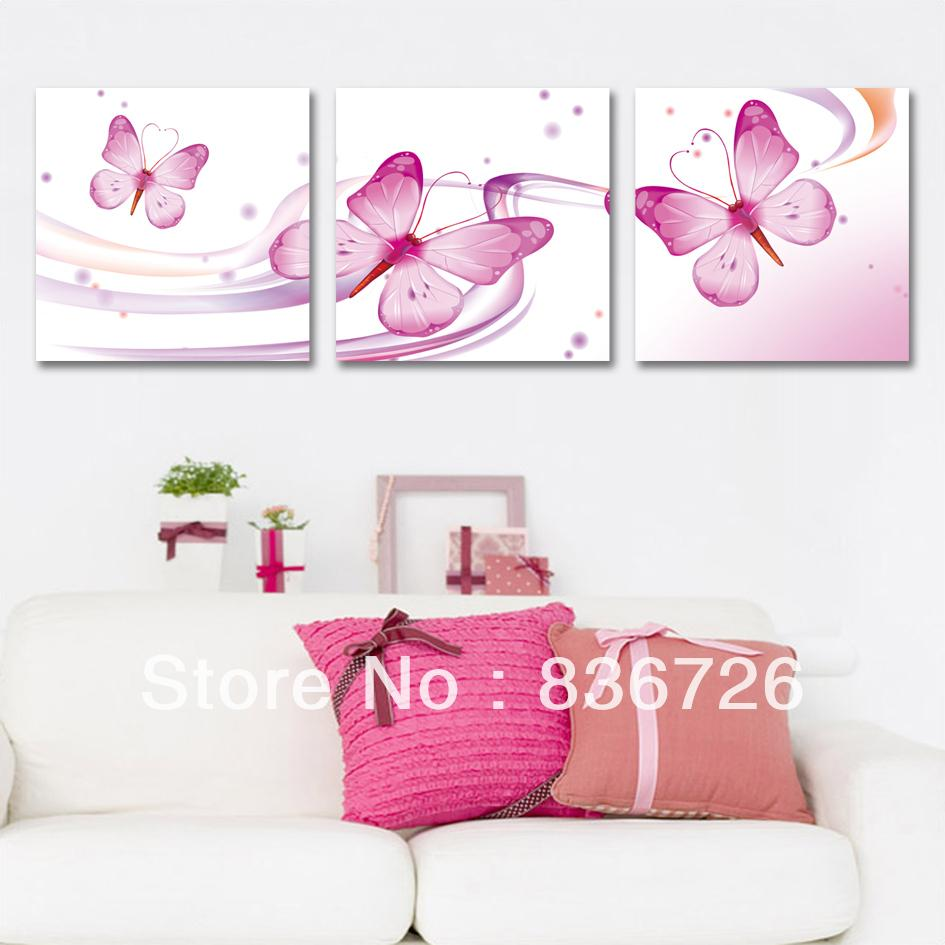 Pink Butterfly Wall Decoration : Piece canvas wall art pink butterfly