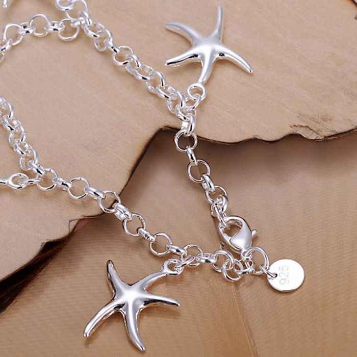 Bán buôn bạc mạ Bracelet, 925 thời trang bạc trang sức quyến rũ vòng tay sao biển Chain Bracelet cho phụ nữ/đàn ông SB193