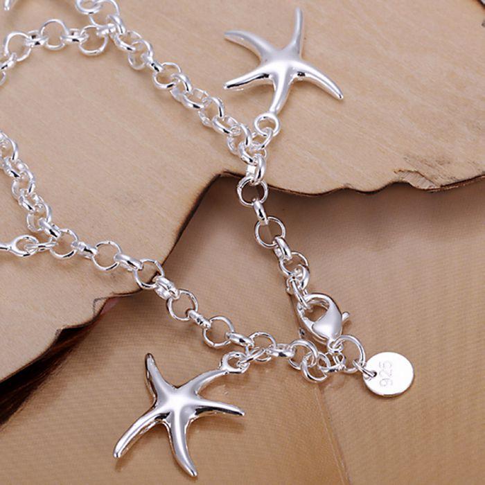 wholesale silver plated bracelet,925 fashion Silver jewelry charm bracelet starfish chain Bracelet for women/men SB193