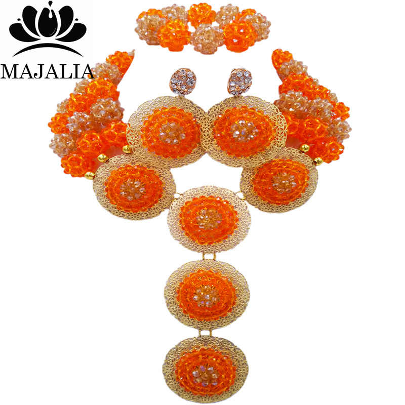 Majalia Fashion Nigeria Wedding African Beads Jewelry Set Orange and gold ab Crystal Necklace Bridal Jewelry Sets 3SP001