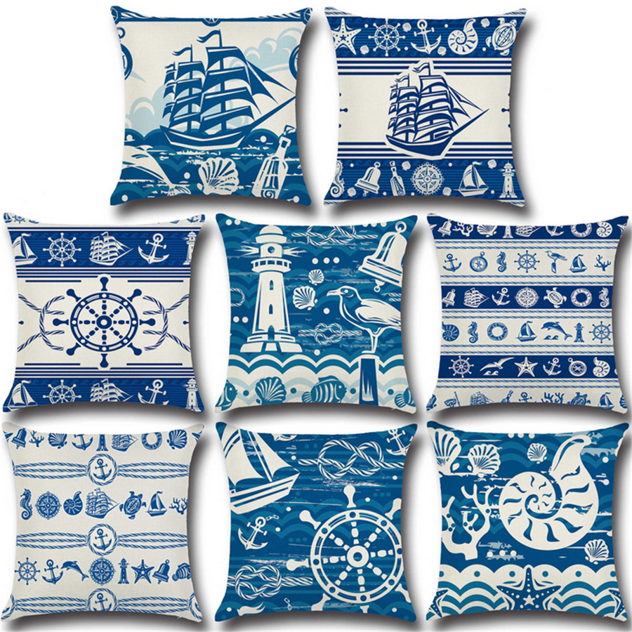 Hot Sale Nautical Chart Blue Nordic Sofa Throw Pillow Decorative Office Chair  Cushion Cotton Linen Cojines Almofada 45x45cm D244 In Cushion From Home ...