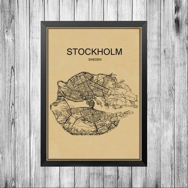 Stockholm city world map poster famous abstract world print bar stockholm city world map poster famous abstract world print bar retro poster cafe decoration pub living gumiabroncs Gallery