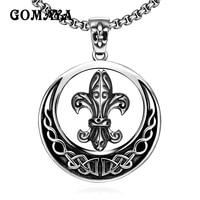 GOMAYA Stainless Steel Pendants Necklaces Punk Style Popular Vintage Round Gothic Biker for Men Women Jewelry