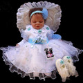 New Baby girl Christening Gown wedding Newborn formal Baptism dress sets Headband +Rendering clothing+dress+Bracelets+shoes