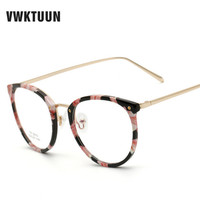 VWKTUUN New TR90 Frame Optical Eyeglasses Frame Myopia Cat Eyes Metal Men Women Spectacles Eye Glasses