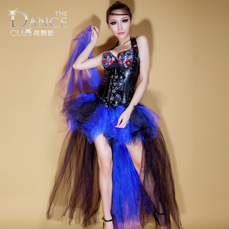 New Singer Lead Ds Costumes Retro Fluorescent Flying Yarn Exaggerated Long Atmospheric Tail Tutu Women