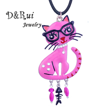 D&Rui Jewelry Elegant Cat Pendant Pink Enamel Cartoon Animal Necklaces Long Rope Chain Girl Gifts Accessories Necklace Women New