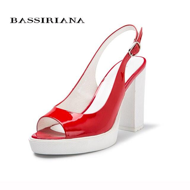 НОВЫЕ босоножки женские 2017 Натуральная лакированная кожа КРАСНЫЙ Обувь женская Высокий каблук Открытый носок 35-40 туфли Бесплатная доставка BASSIRIANA