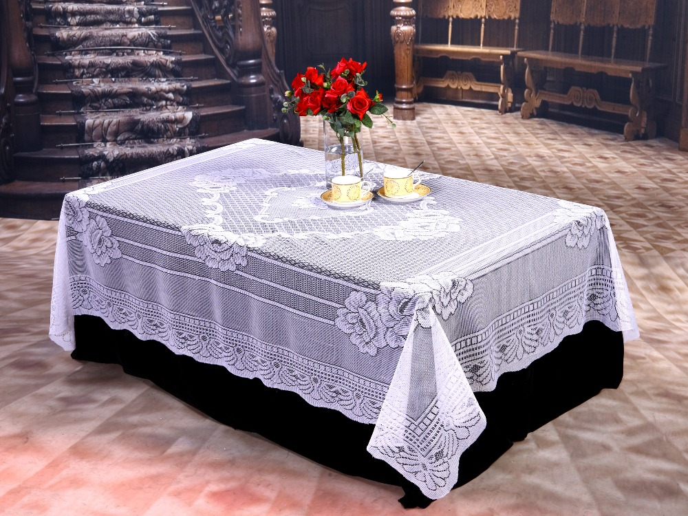 Free Shipping Cheap Wedding Lace Tablecloths White Or Ivory Lace Tablecloth  Overlays 52in X90in Rectangle Tablecloths