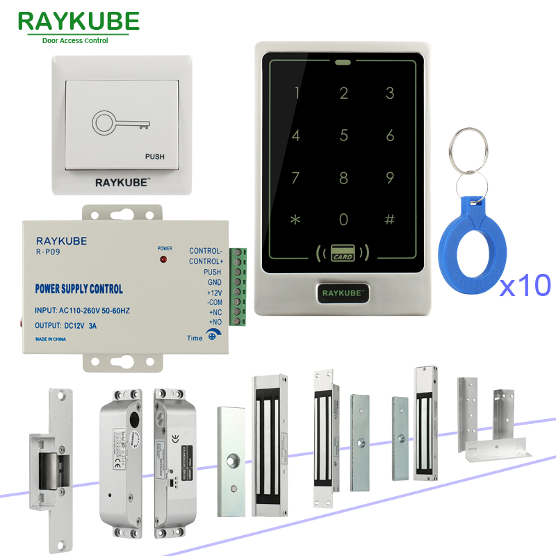 RAYKUBE RFID Door Access Control System DIY Kit With Electronic Magnetic lock 12V 3A Power Supply Touch Access Keypad diysecur magnetic lock door lock 125khz rfid password keypad access control system security kit for home office