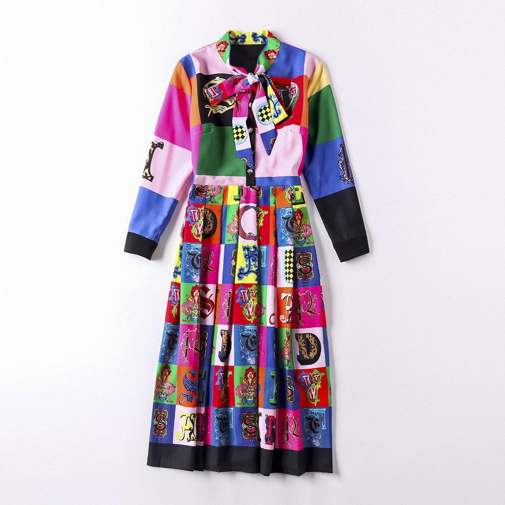 Ol Quality Colour Dress Autumn Female Bow Super Flower 2018 Printed Slim Vestido Runway New Women 1qfqwTWdv