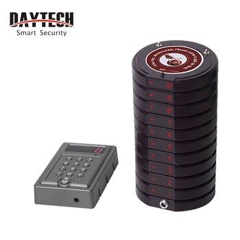 DAYTECH Wireless sistema de llamada restaurante Queuing Coaster Pager sistema de llamadas 1 teclado 10 transmisor sistema de llamada P600