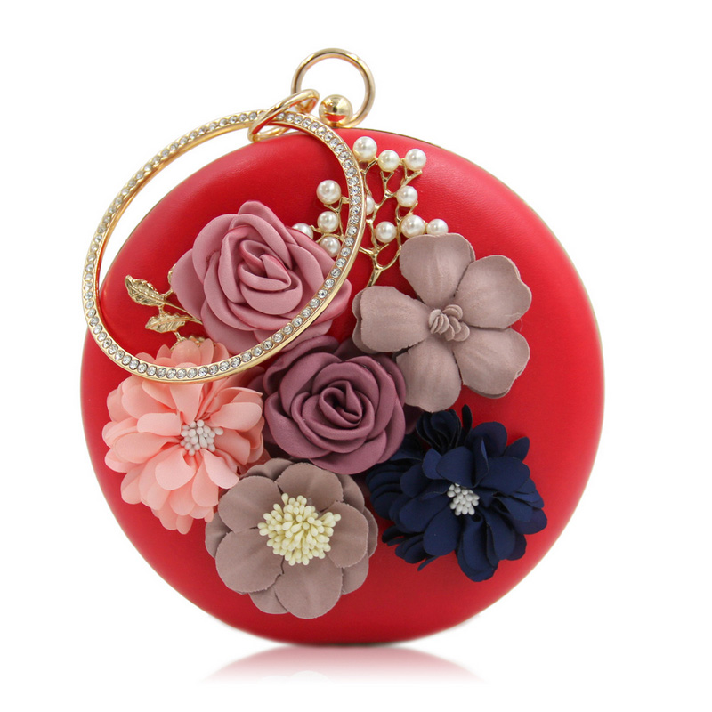 Perla de la manera flores de novia bolsa de embrague bolso de la mujer de banque
