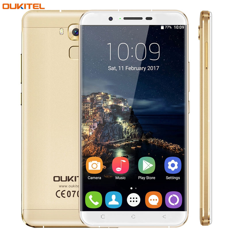 "With Case Oukitel U16 Max 3GB+32GB Press Fingerprint Identification 6.0"" 2.5D Arc JDI Screen Android7.0 MTK6753 4G LTE 4000mAh"