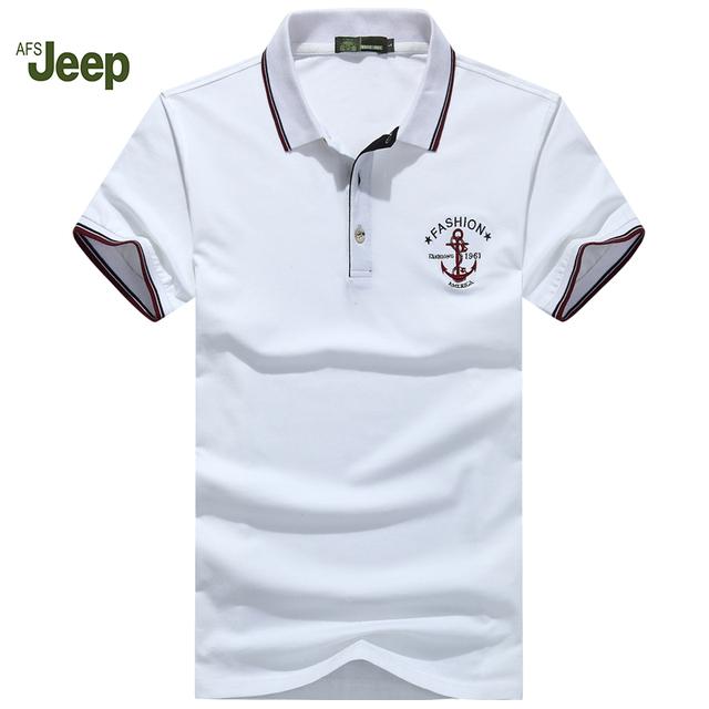 Solid Polo Hombres de la Camisa de impresión Famous Brand New 2016 AFS Jeep Nuevos Polos Verano Hombres de manga Corta Camisa Polo M-XXXL50