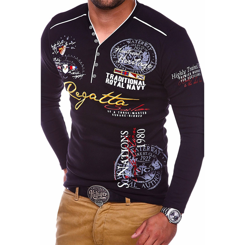 ZOGAA Men's New Slim Long-sleeved Comfortable   POLO   Shirt Europe and The United States Creative Printing Men's Clothing