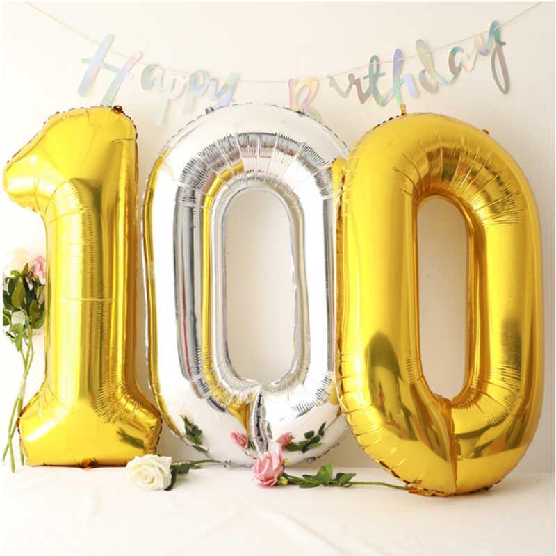 1pc 16/32/40 cal kolor balony foliowe w kształcie cyfr róża złota cyfra balon nadmuchiwane piłki dekoracja urodzinowa balon ślub